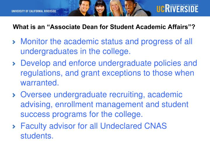 What is an associate dean for student academic affairs