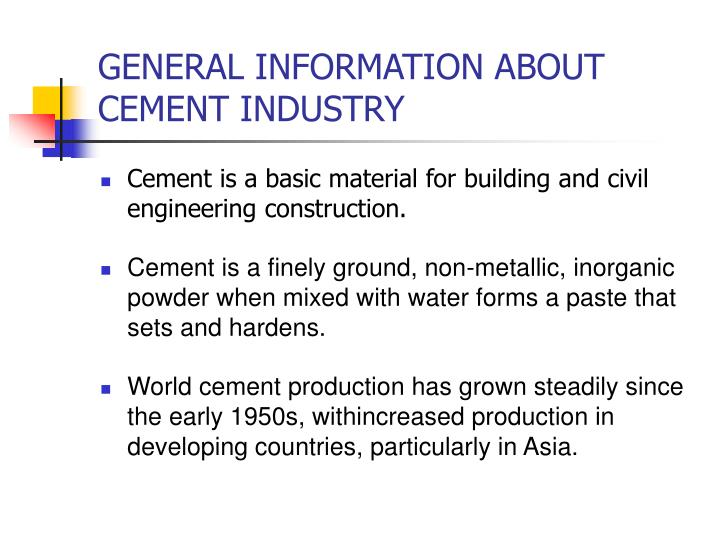 General information about cement industry