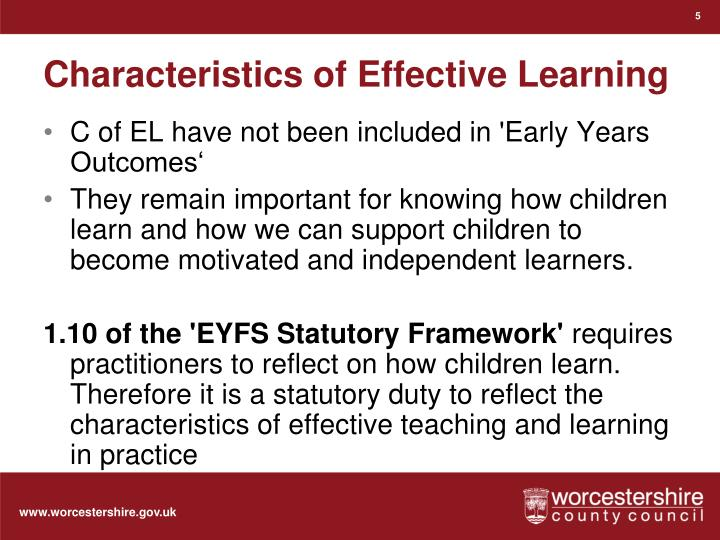 Characteristics of Effective Learning