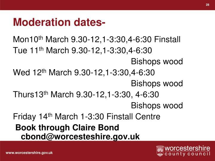 Moderation dates-