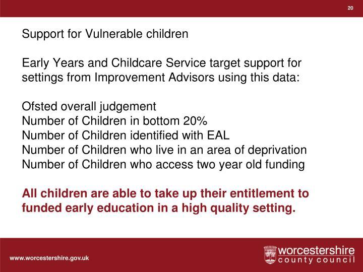 Support for Vulnerable children