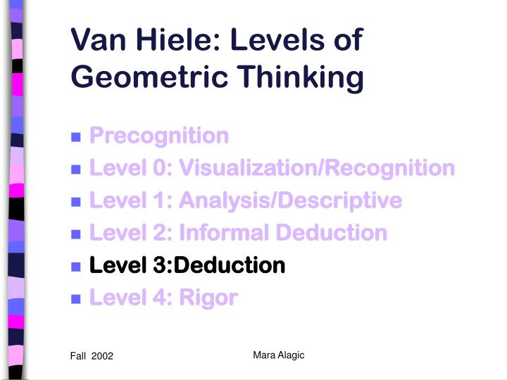 Van Hiele: Levels of Geometric Thinking
