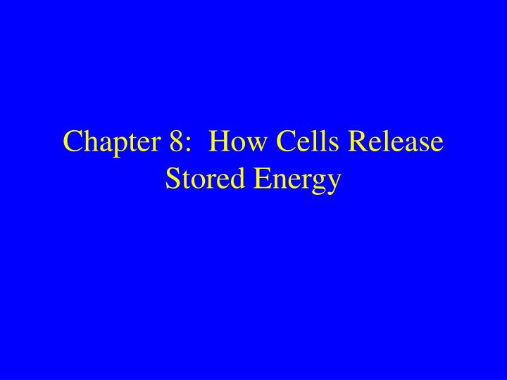 Chapter 8:  How Cells Release Stored Energy