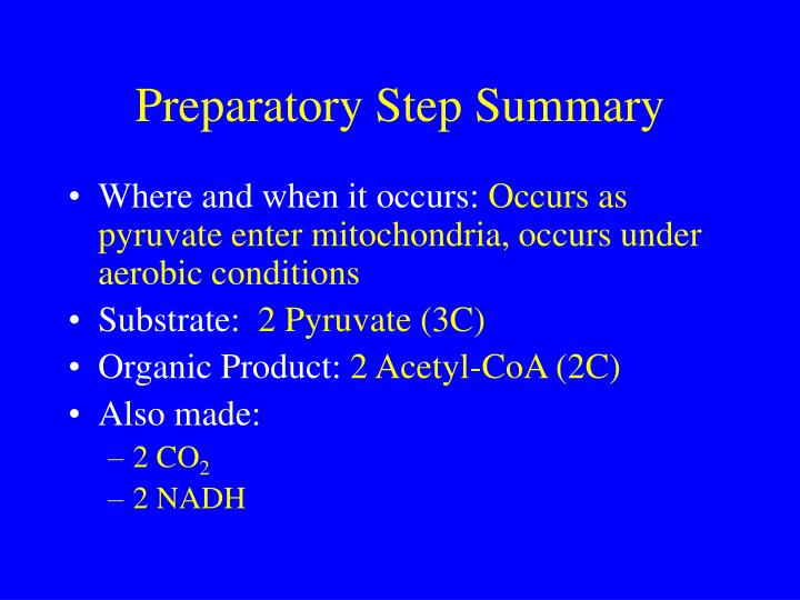 Preparatory Step Summary