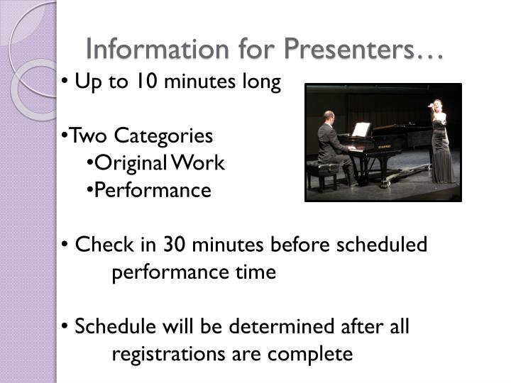Information for Presenters…