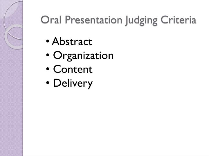 Oral Presentation Judging Criteria