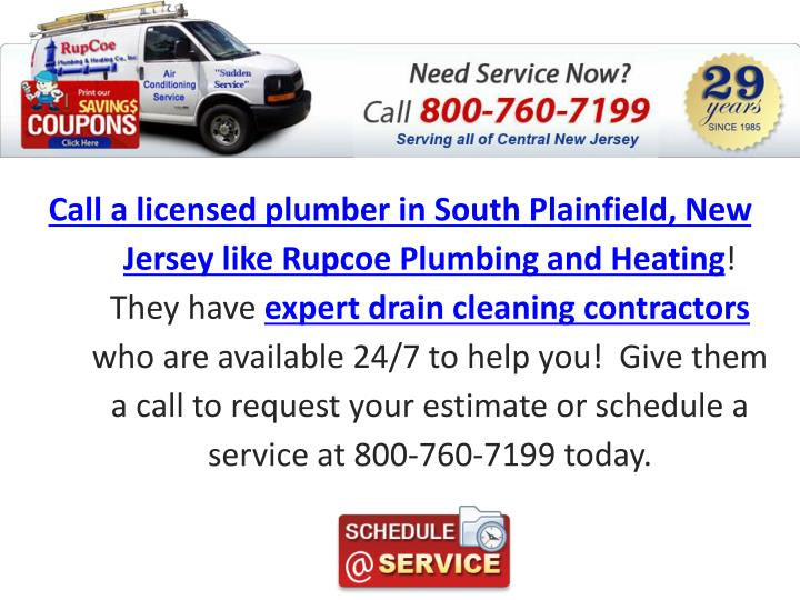 Call a licensed plumber in South Plainfield, New Jersey like