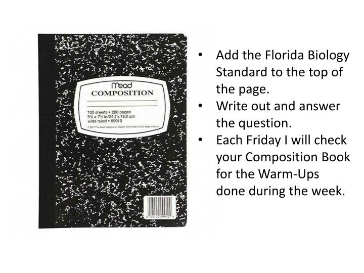 Add the Florida Biology Standard to the top of the page.