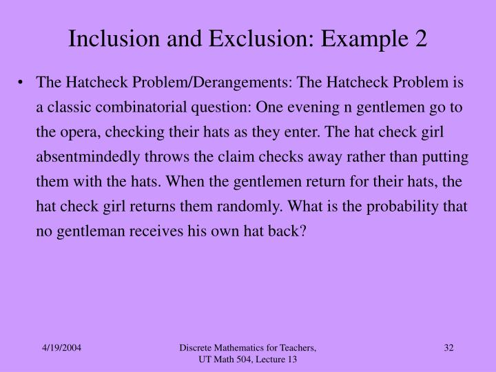 Inclusion and Exclusion: Example 2