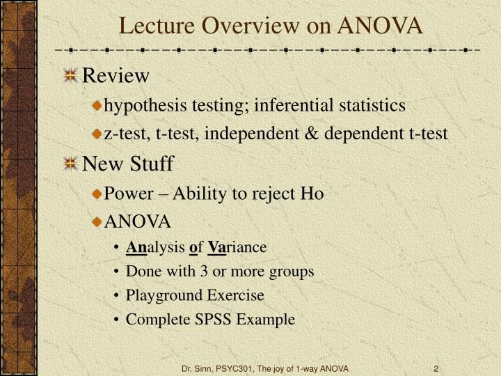 Lecture overview on anova