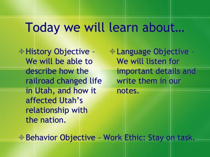 History Objective –