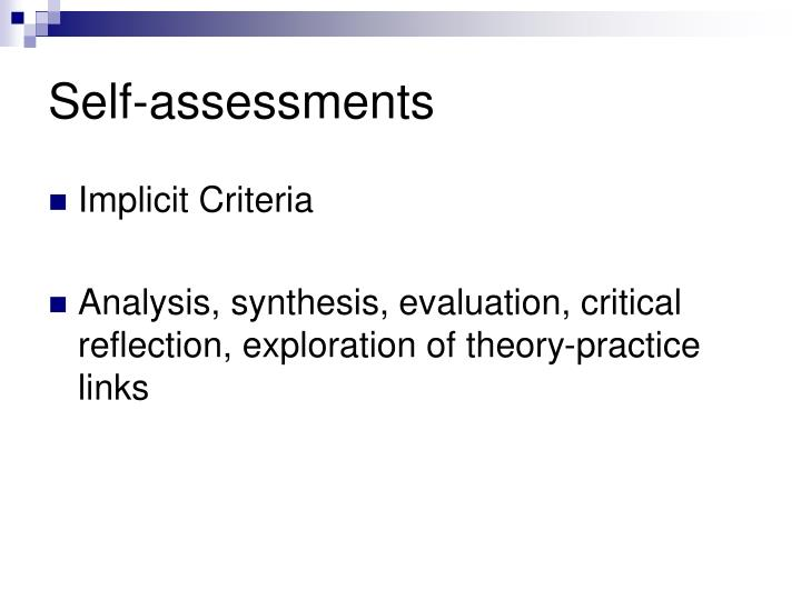 Self-assessments