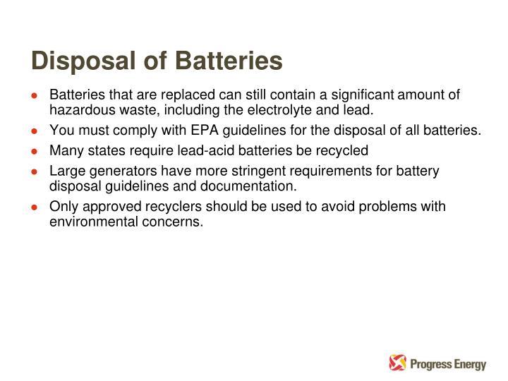 Disposal of Batteries