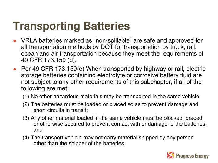 Transporting Batteries