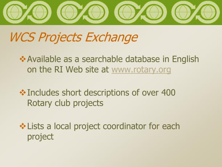 WCS Projects Exchange