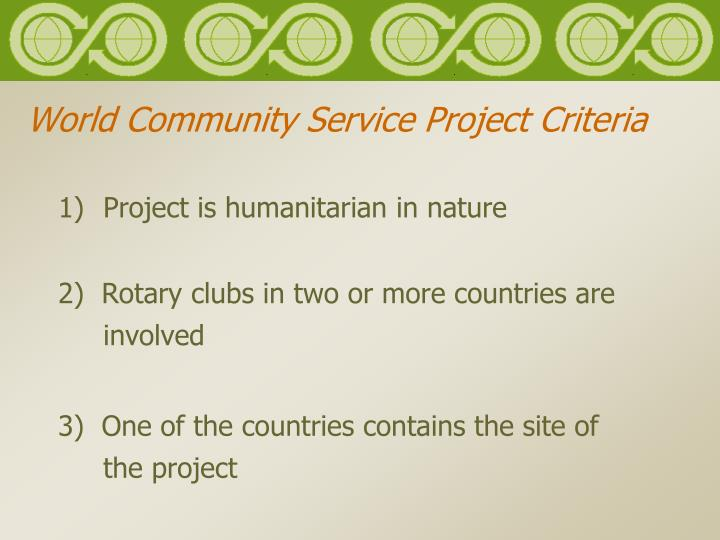 World community service project criteria