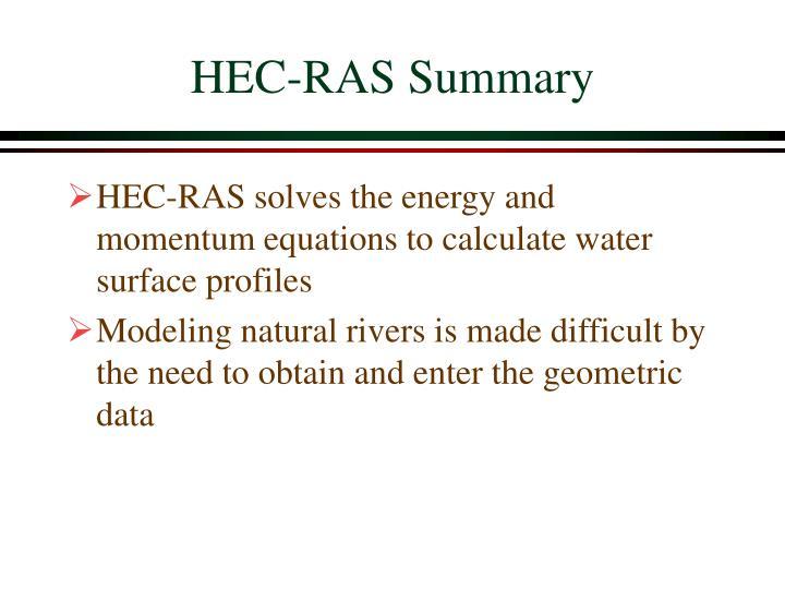 HEC-RAS Summary