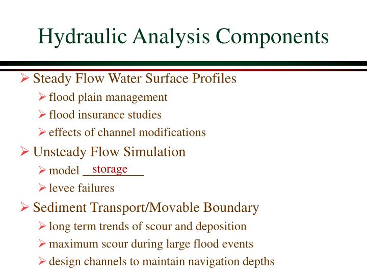 Hydraulic analysis components