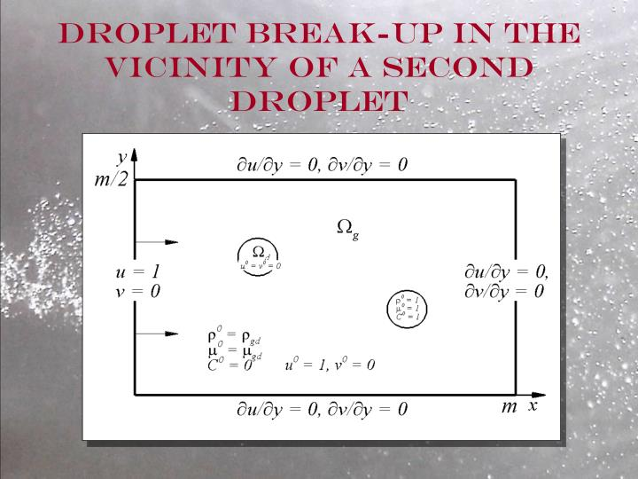 Droplet Break-up in the vicinity of a second droplet