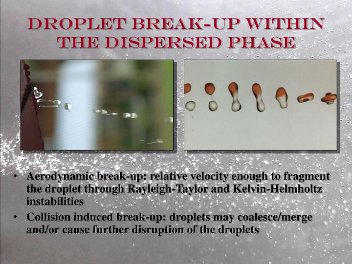 Droplet break up within the dispersed phase