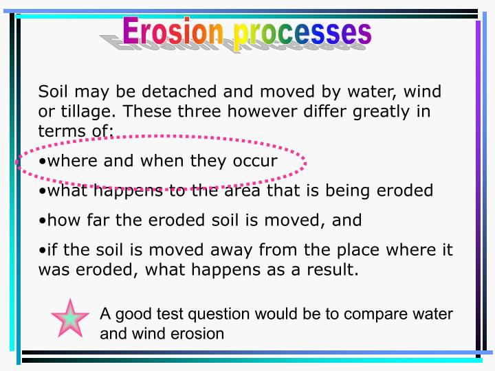 A good test question would be to compare water and wind erosion