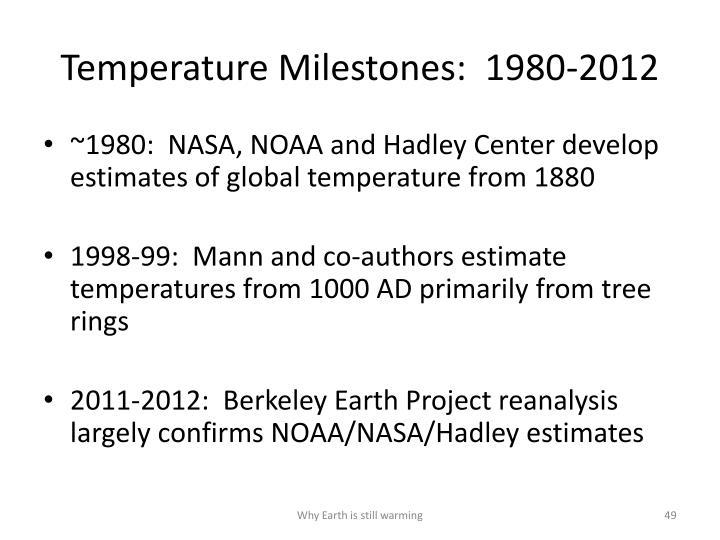 Temperature Milestones