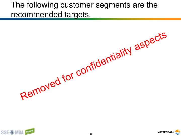 The following customer segments are the recommended targets.