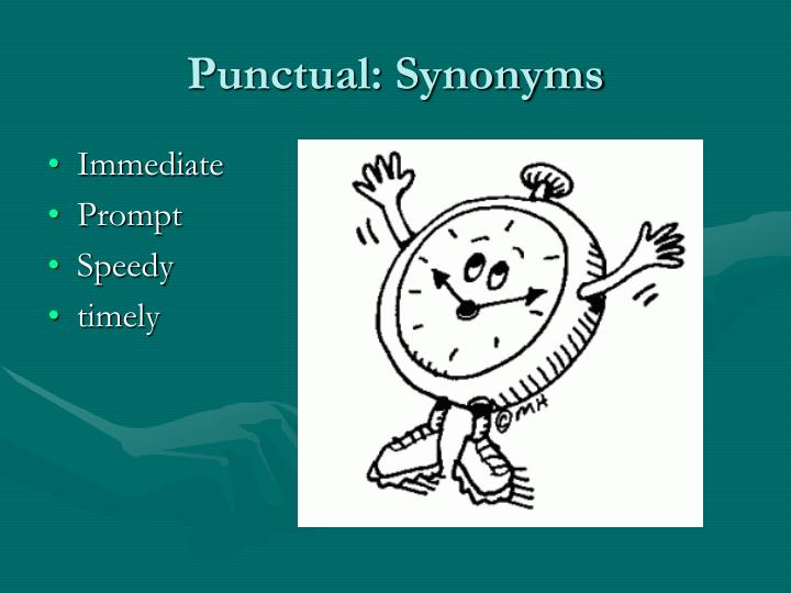 Punctual: Synonyms