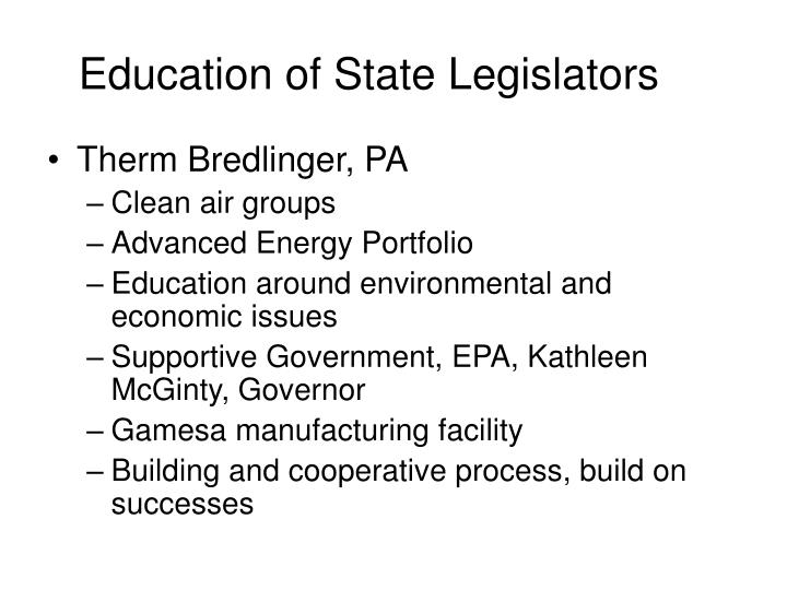 Education of State Legislators