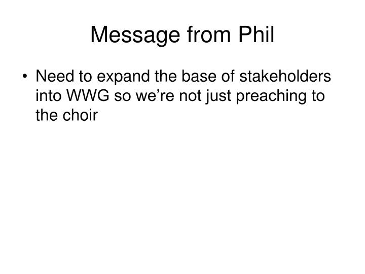 Message from Phil