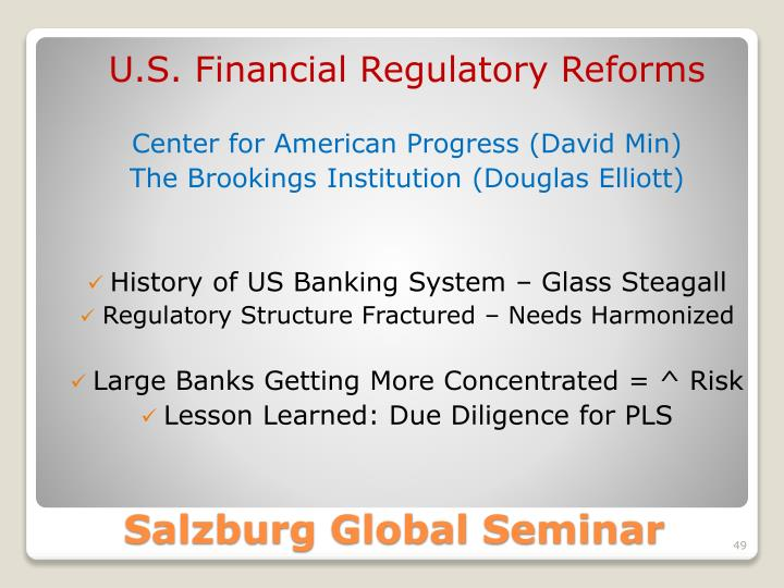 U.S. Financial Regulatory Reforms