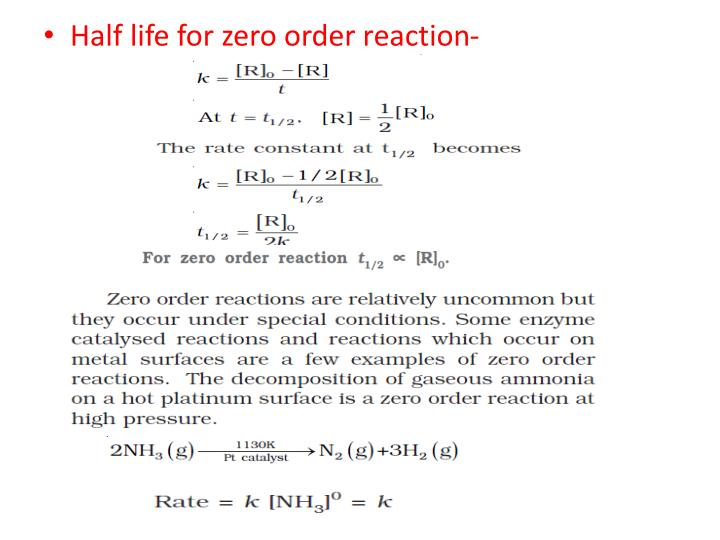 Half life for zero order reaction-