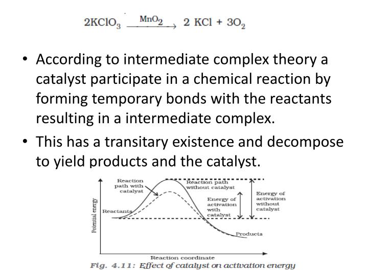 According to intermediate complex theory a catalyst participate in a chemical reaction by forming temporary bonds with the reactants resulting in a intermediate complex.