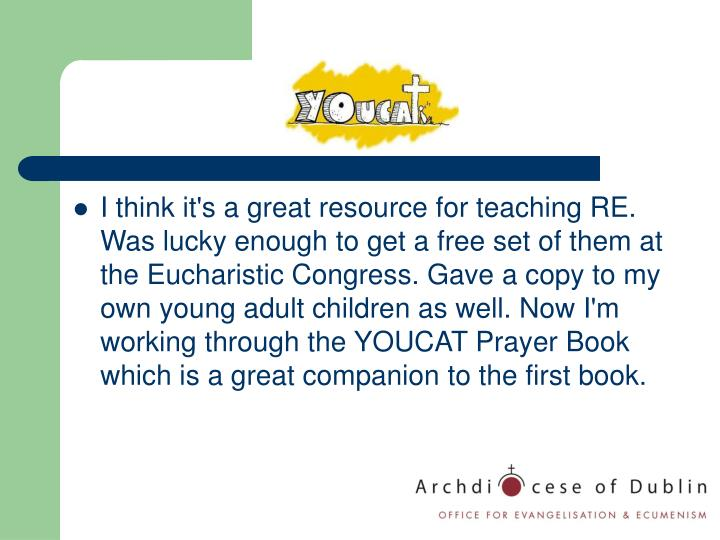 I think it's a great resource for teaching RE. Was lucky enough to get a free set of them at the Eucharistic Congress. Gave a copy to my own young adult children as well. Now I'm working through the YOUCAT Prayer Book which is a great companion to the first book.