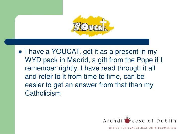 I have a YOUCAT, got it as a present in my WYD pack in Madrid, a gift from the Pope if I remember rightly. I have read through it all and refer to it from time to time, can be easier to get an answer from that than my Catholicism