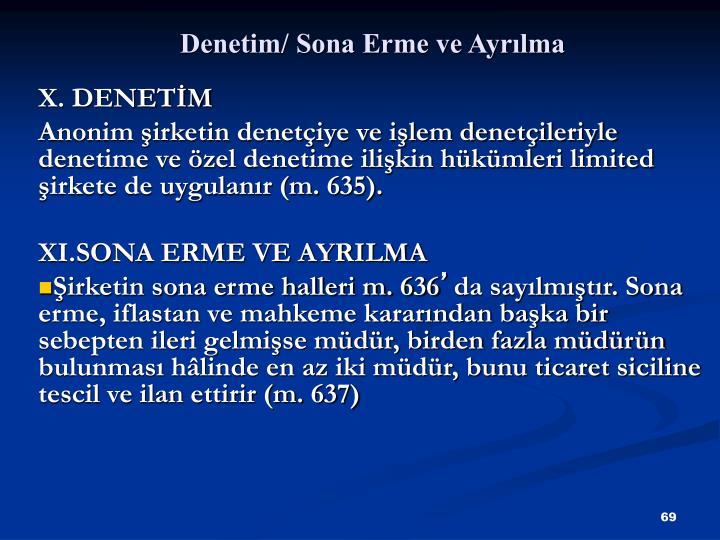 Denetim/ Sona Erme ve Ayrlma