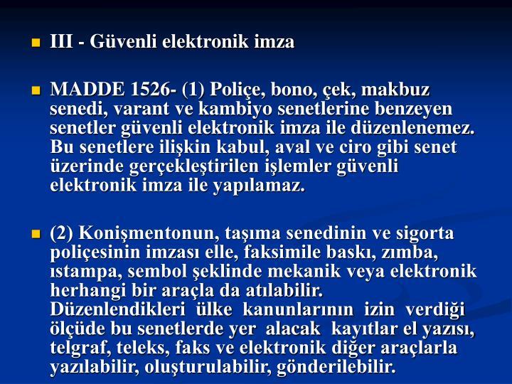 III - Gvenli elektronik imza