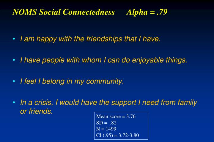 NOMS Social ConnectednessAlpha = .79