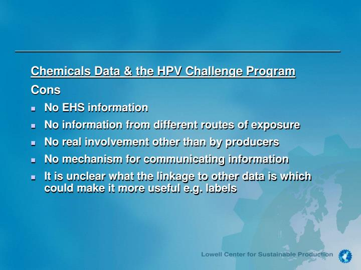 Chemicals Data & the HPV Challenge Program