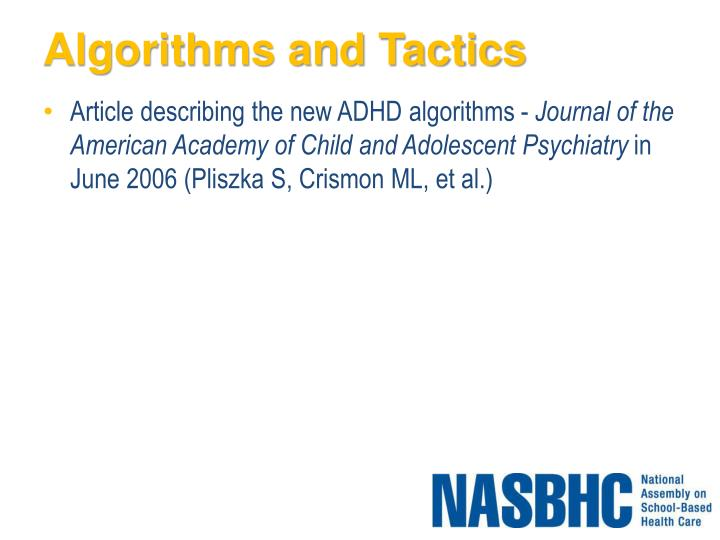 Algorithms and Tactics