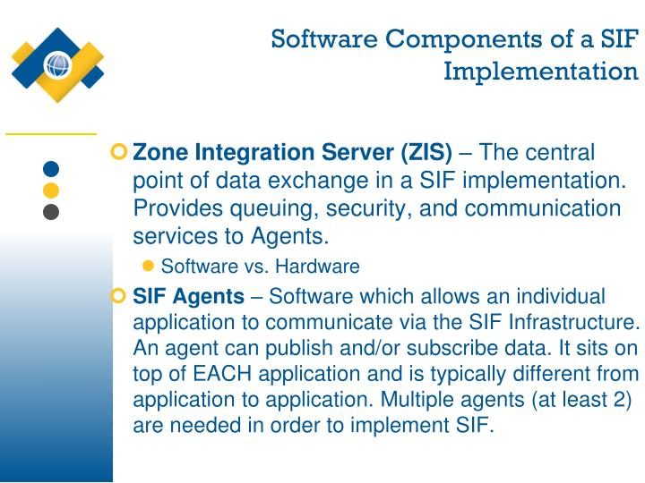 Software Components of a SIF Implementation