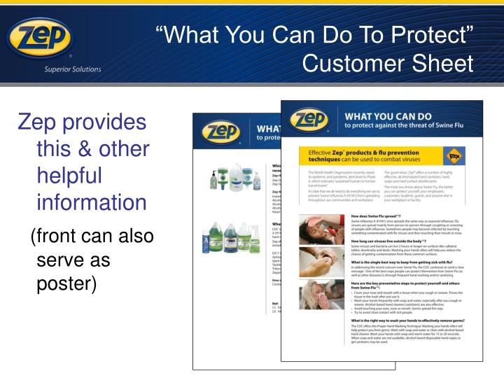 """""""What You Can Do To Protect"""" Customer Sheet"""