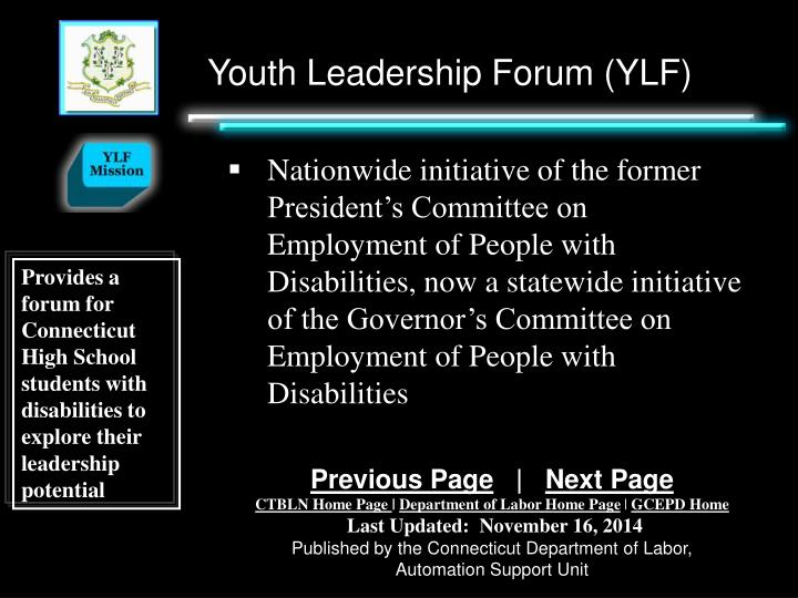 Youth Leadership Forum (YLF)