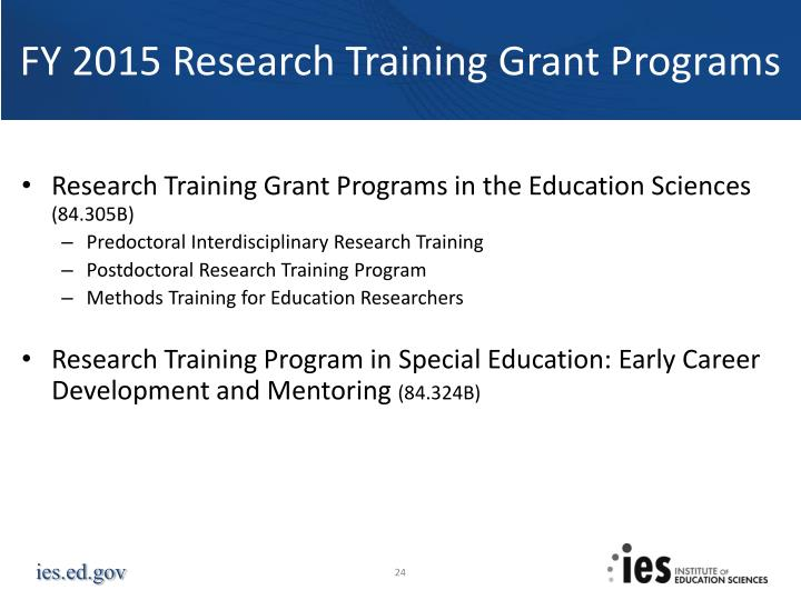 FY 2015 Research Training Grant Programs