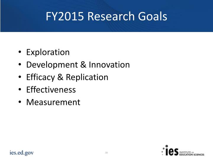 FY2015 Research Goals