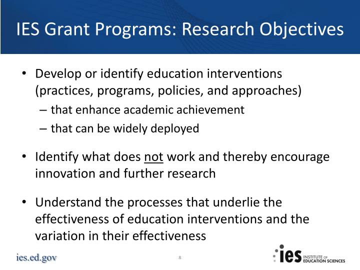 IES Grant Programs: Research Objectives
