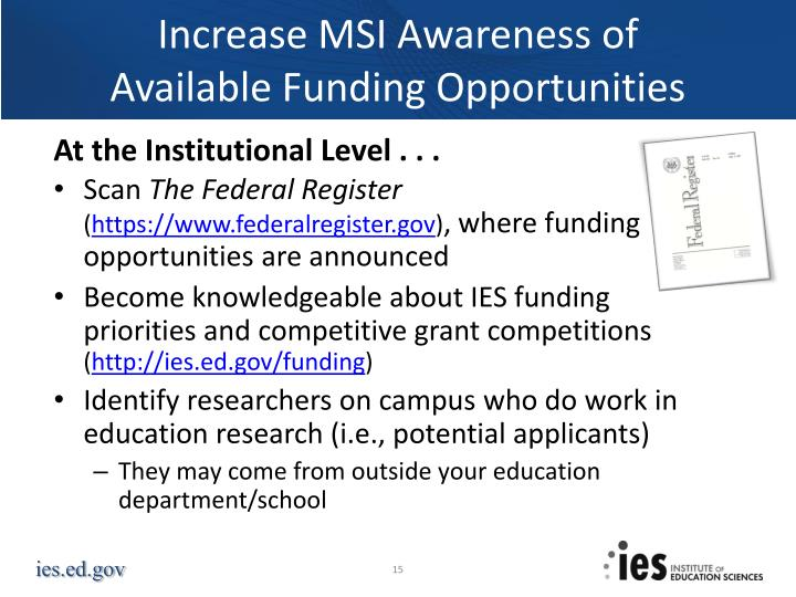 Increase MSI Awareness of