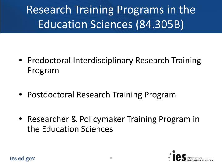 Research Training Programs in the Education Sciences (84.305B)