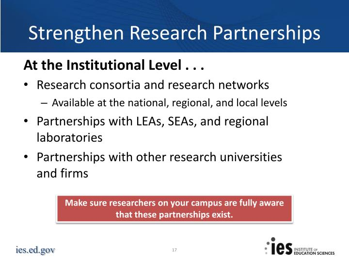 Strengthen Research Partnerships