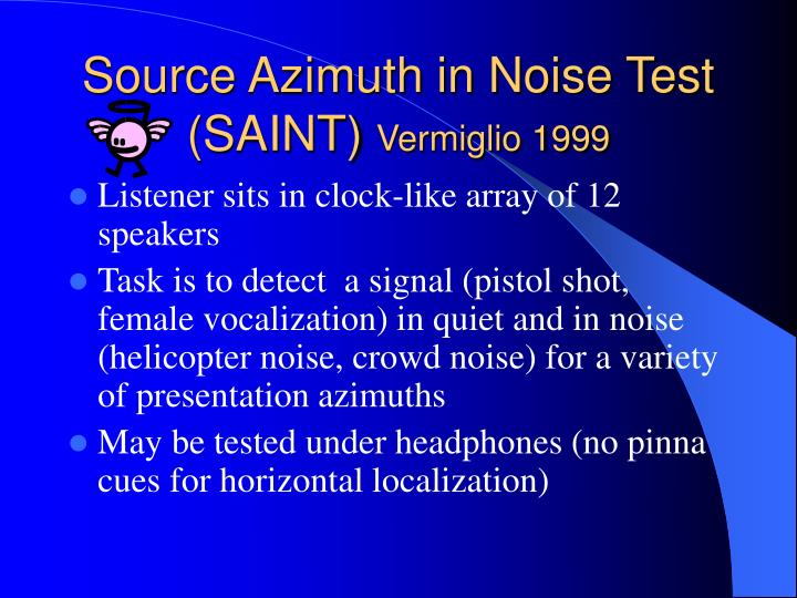 Source Azimuth in Noise Test (SAINT)